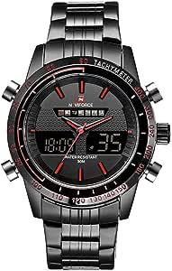ساعة معصم NaVIFORCE من الفولاذ المقاوم للصدأ 3aTM مضادة للماء مزدوجة التوقيت كوارتز رياضية للرجال مع وظيفة المنبه الخلفي التقويم ساعة إيقاف