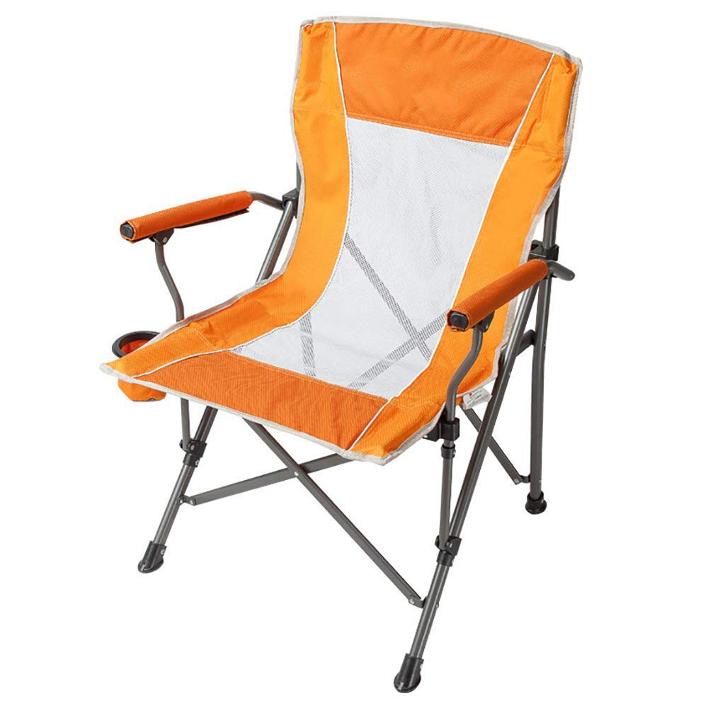 Outdoor Camp Folding Chair Portable Lightweight Chairs with Armrest for Festival, Beach, Hiking-Orange by BSDBDF