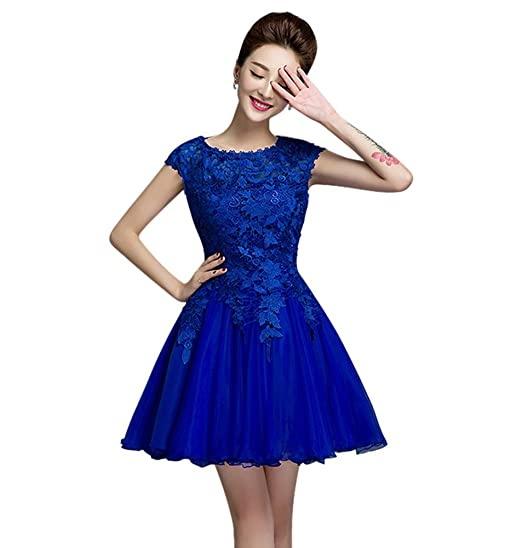 e7c63d5e2ba Drasawee Women s Short Sleeve Lace Prom Party Homecoming Dresses Elegant Slim  Style Cocktail Wedding Evening Gowns
