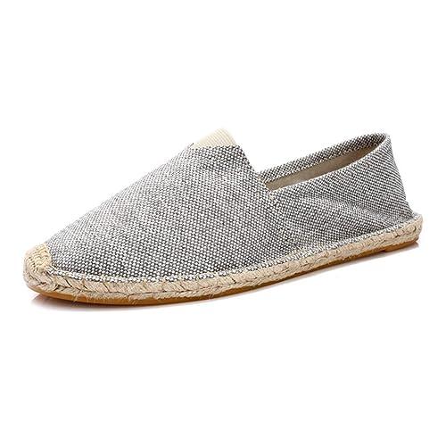 Los Hombres De CáñAmo Slip-On Zapatillas Transpirable Moda Alpargatas Mocasines SóLidos: Amazon.es: Zapatos y complementos