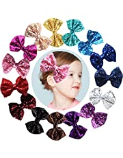 "Party Hair Bows Clips for Girls-15pcs Bling Sparkly Glitter Sequins Big 4"" Hair Bows Alligator Hair Clips-Nylon Mesh Ribbon Bowknot Hairpins for Baby Girls Kids Children"