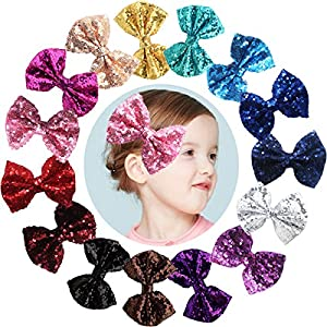 """Party Hair Bows Clips for Girls-15pcs Bling Sparkly Glitter Sequins Big 4"""" Hair Bows Alligator Hair Clips-Nylon Mesh Ribbon Bowknot Hairpins for Baby Girls Kids Children"""