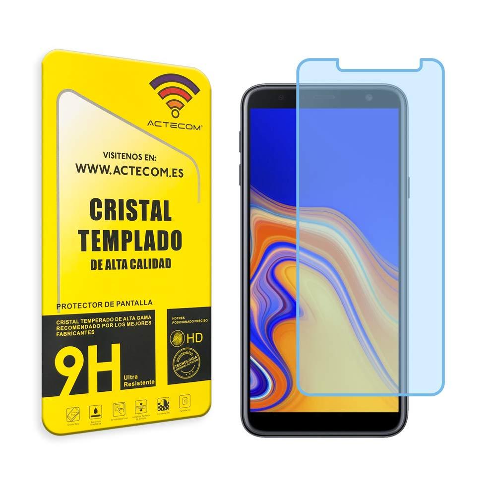 ACTECOM® Protector Cristal Templado Compatible para Samsung Galaxy J4 Plus 9H 2.5D Pantalla