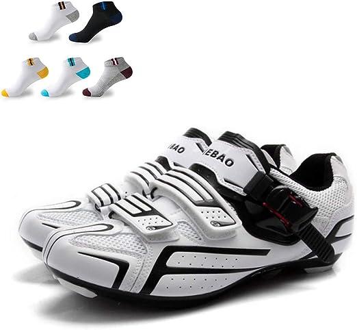 XFQ Zapatillas De Ciclismo Lock Ciclismo Calzado Hombre, Zapatos ...