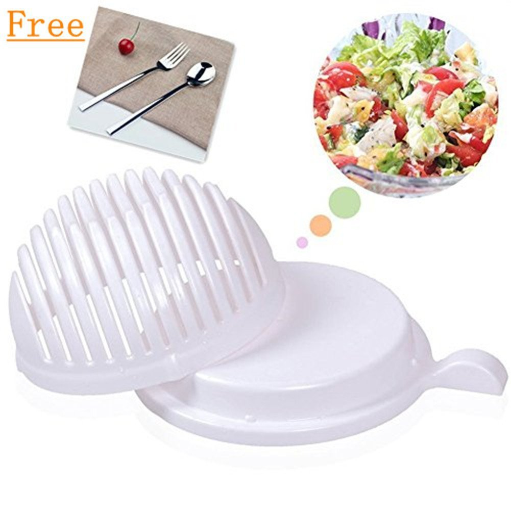 Salad Maker Bowl, 60 Seconds Salad Maker Vegetable Cutter Bowl - Includes One Fork and Spoon Thomtery