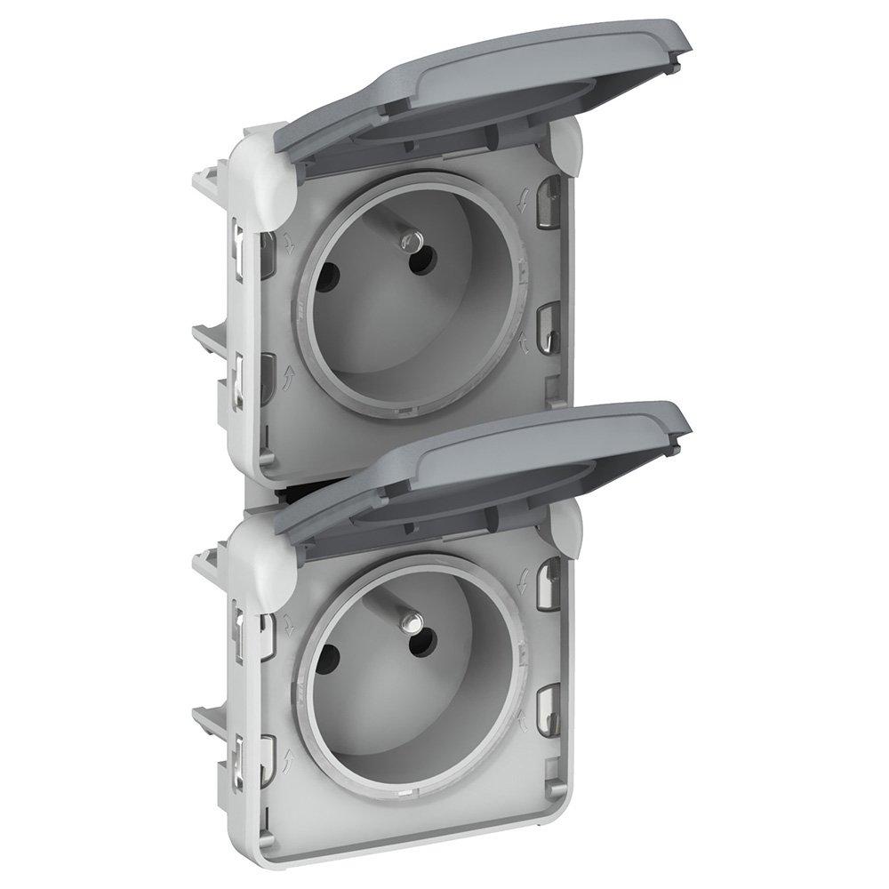 Gris 250V Legrand 069563 Double Prise de Courant /Étanche 2P+T Pr/éc/âbl/ées /à La Verticale Plexo Composable IP55 16A
