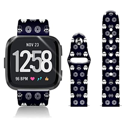 FTFCASE Silicone Sport Bands Compatible with Fitbit Versa/Versa 2/Versa Lite SE, The Cartoon Star Wars Flower Printed 20mm Strap Replacement Bracelet ...