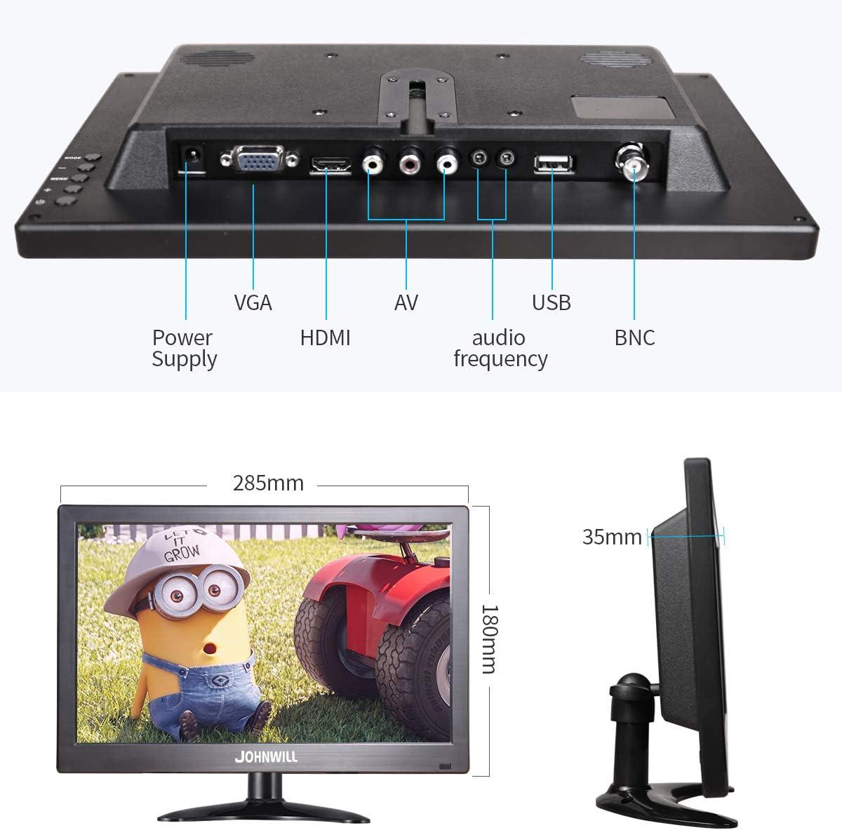 JOHNWILL Monitor portátil del Monitor de 12 Pulgadas con IPS 1366x768 IPS USB VGA HDMI AV BNC, plástico Negro: Amazon.es: Electrónica