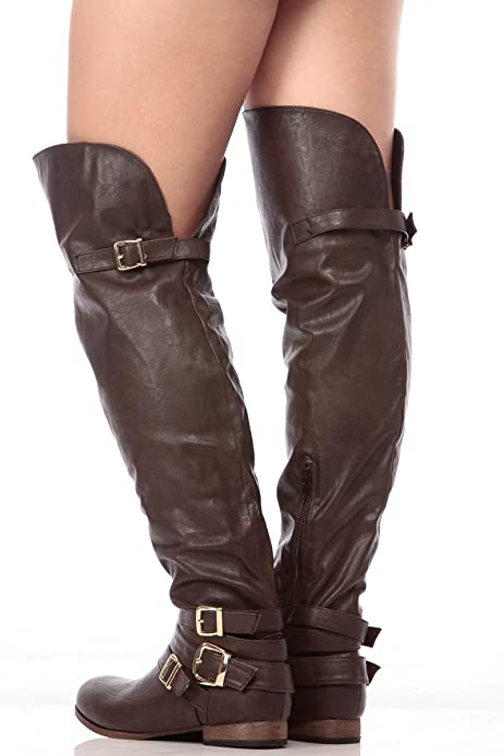 Amazon.com: café oscuro de piel sintética sobre la rodilla ...