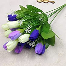 TiTa-Dong 15 Heads Silk Tulip Bouquets Green Leaves For Home Wedding Decor Furnishings Landscap Artificial Flowers (Blue)