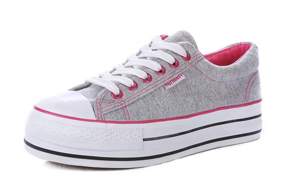 Aisun Women's Trendy Lace Up Platform Canvas Sneakers B0148L7D7Y 5 B(M) US|Gray