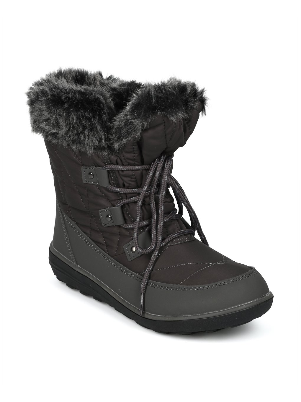 Alrisco Faux Fur Trim Lace up Outdoor Winter Boot HG06 B078MNN36M 8 M US|Grey Mix Media