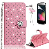 LG G3 Case – Sunroyal Bling 3D Handmade Diamond Glitter PU Leather Wallet Flip Case Cover with Bling Rose Magnetic & Card Holder Pouch [Stand ] with Metal Wrist Strap + Glass Screen Protector + Bow Anti Dust Plug For LG G3 (D855) - Pink