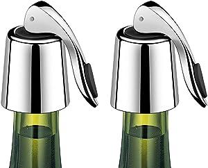 ERHIRY Wine Bottle Stopper Stainless Steel, Wine Bottle Plug with Silicone, Expanding Beverage Bottle Stopper, Reusable Wine Saver, Bottle Sealer Keeps Wine Fresh, Best Gift Accessories (2)
