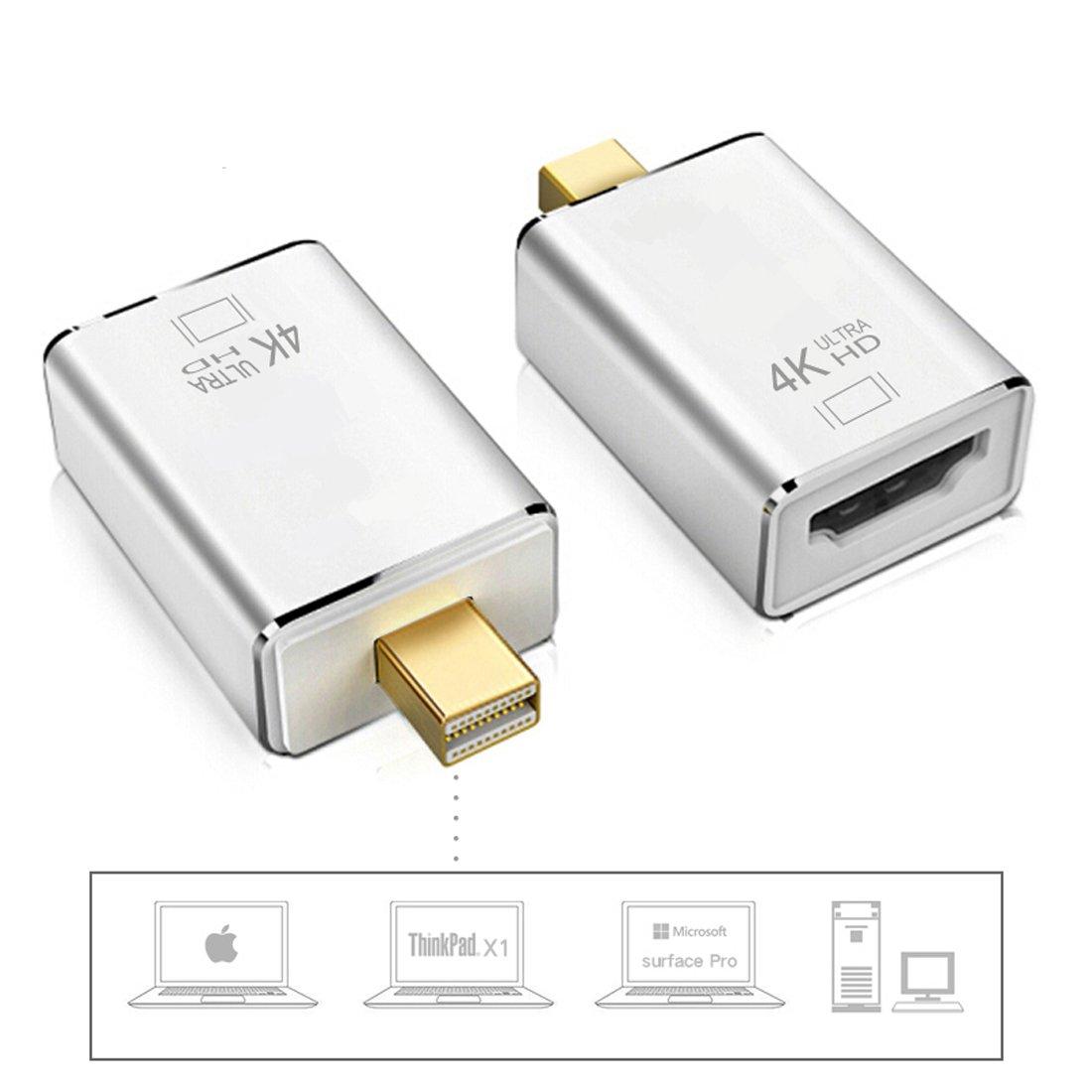 MOTONG 4K Mini DisplayPort to HDMI Adapter, Mini DP(Thunderbolt Port Compatible) to HDMI AV HDTV Male to Female Adaptor for Mac Book iMac (Silver)