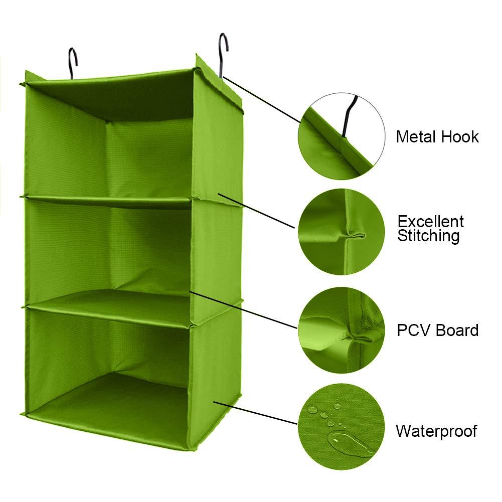 Blue-3 Shelf with 2 Metal Hooks UMEXUS 3 Shelves Foldable Hanging Closet Organizer Hanging Shoe Organizer Oxford Cloth