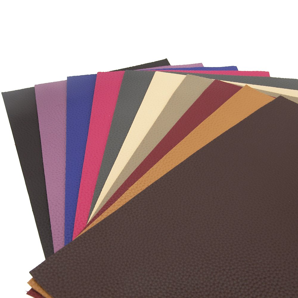 David accessories Solid Color PU Leather Fabric Plain Litchi Fabric Cotton Back 10 pcs 8'' x 13'' (20cm x 34cm) for Making Bags Craft DIY Sewing Assorted Colors (Dark Color) by David accessories (Image #2)