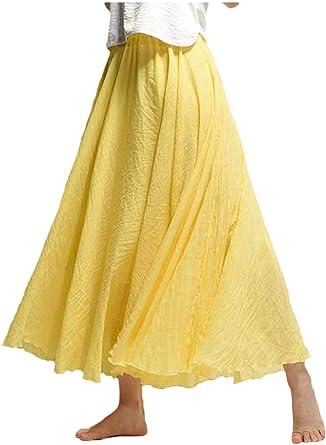 Falda De Algodón Mujer Otoño Casual Solid Skater Playa Maxi Faldas: Amazon.es: Ropa y accesorios