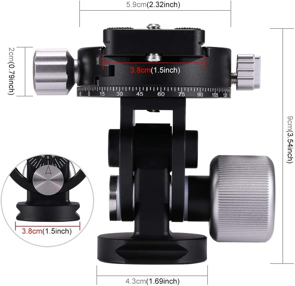 2-Way Pan//Tilt Tripod Head Panoramic Photography Head with Quick Release Plate /& 3 Bubble Level Durable