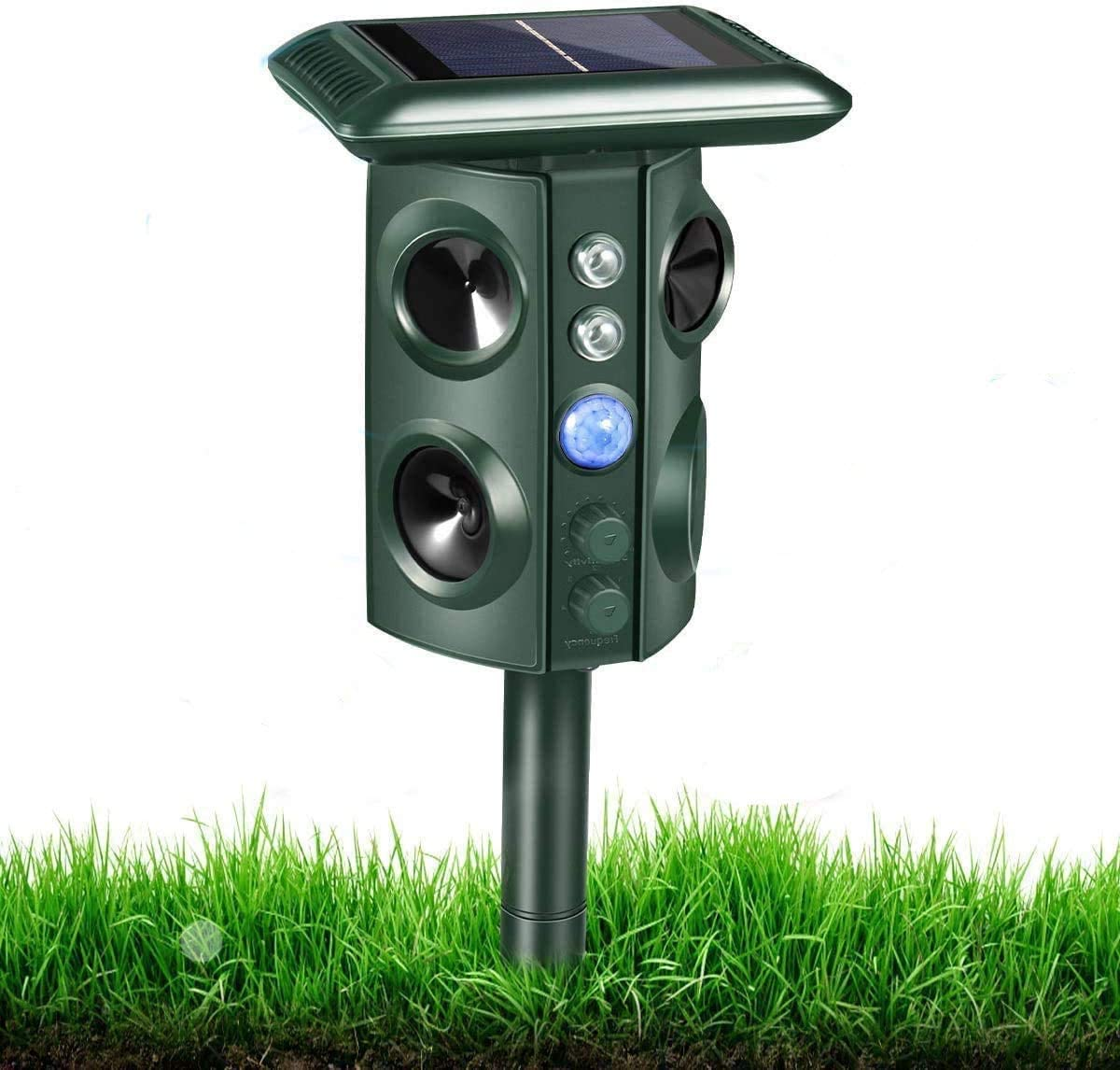 RIVENNA Ultrasonic Animal Chaser, Solar Animal Chaser, Motion Detector, Flashing Light and USB Charge, Outdoor Farm Garden Yard, Dog, Cat, Squirrel, Raccoon, Skunk, Rabbit, Mole, Deer, Birds