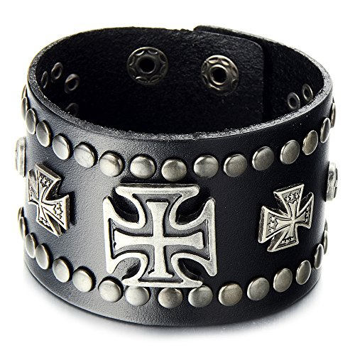 COOLSTEELANDBEYOND Mens Wide Leather Bracelet with Cross and Rivets Black Leather Wristband with Snap Button