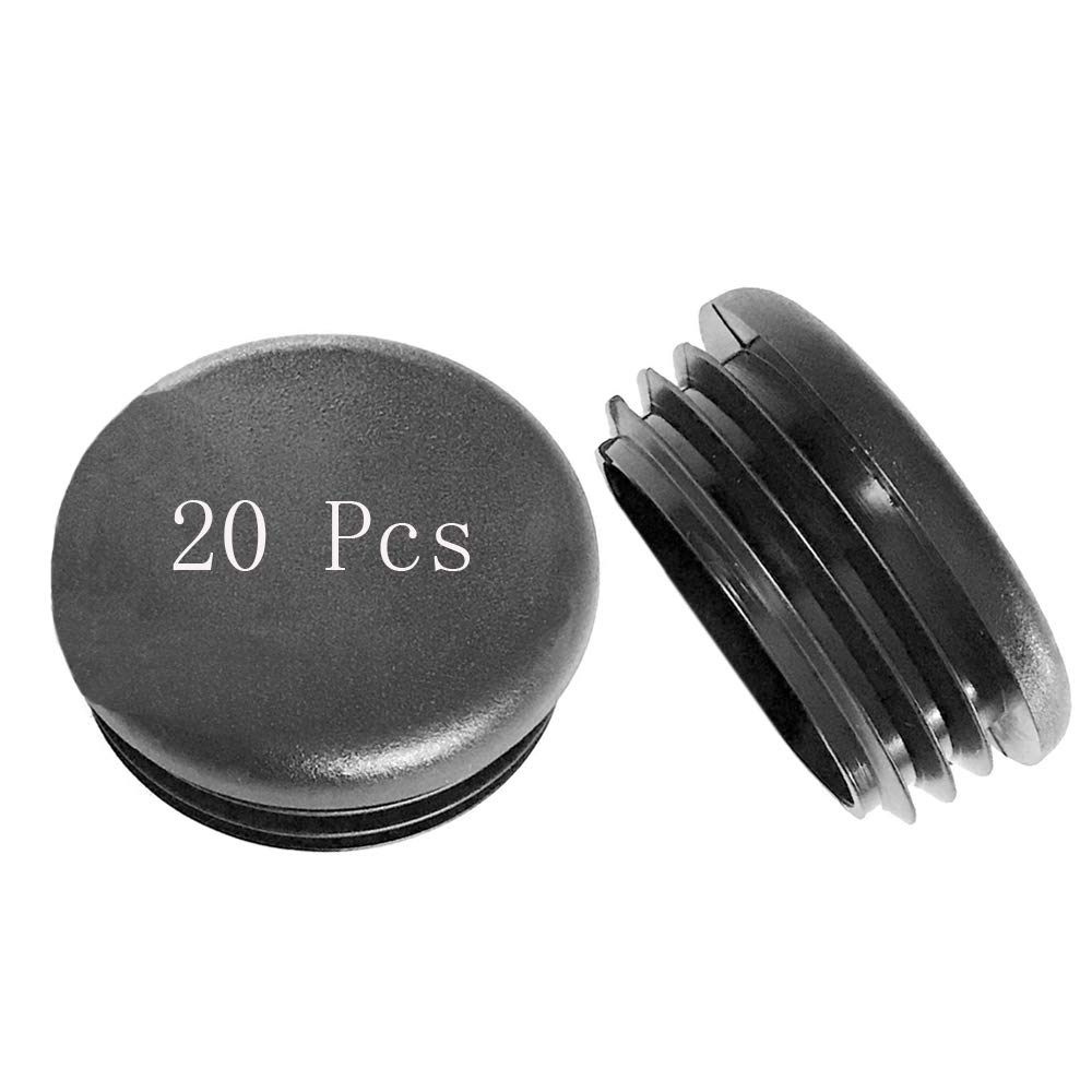 Black 1 Inch 20Pcs Pipe Tubing End Cap Durable Chair Glide Round Pipe End Cap Cover for Table Chair Furniture Legs Round Plastic Plug