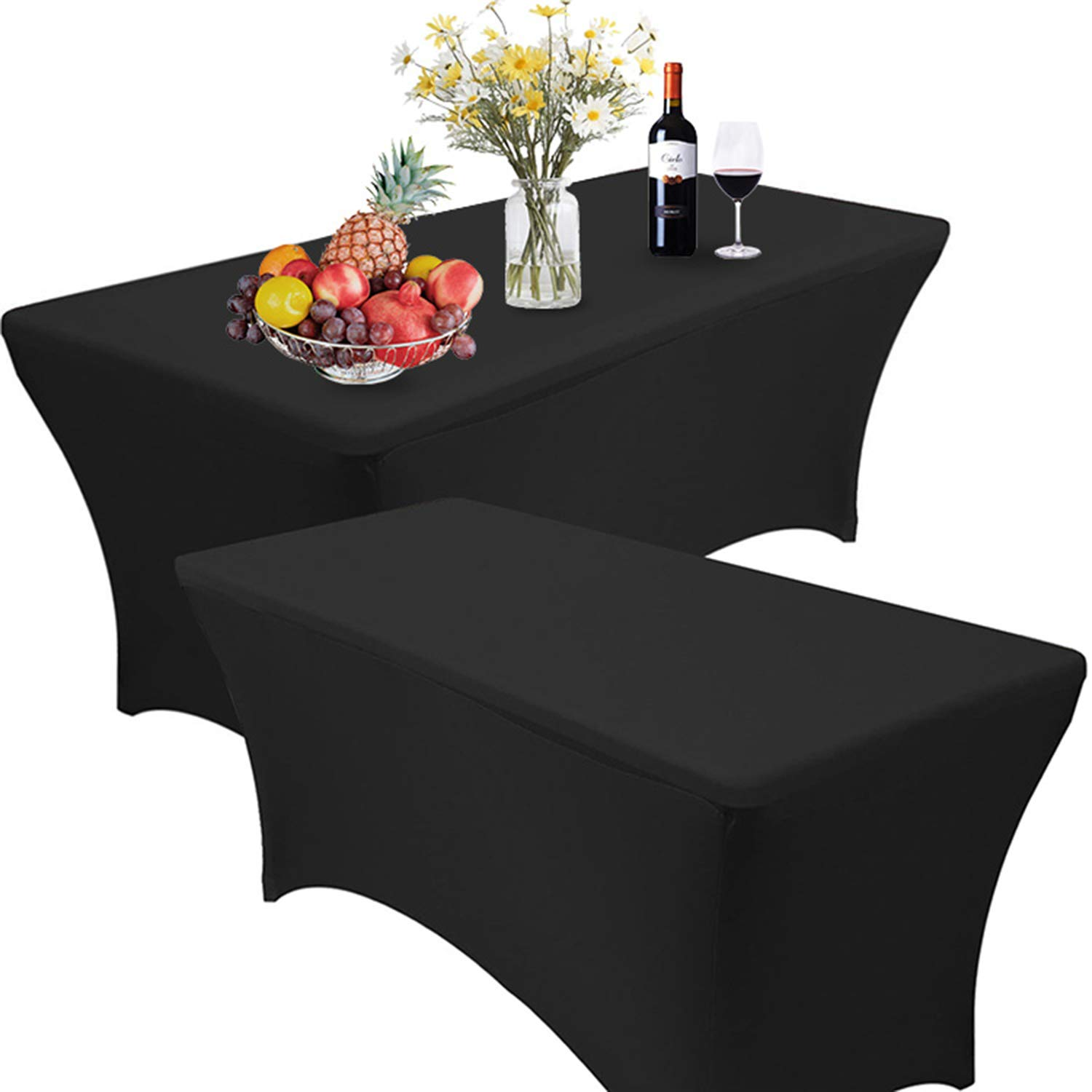 Reliancer 2 Pack 48FT Rectangular Spandex Table Cover Four-Way Tight Fitted Stretch Tablecloth Table Cloth for Outdoor Party DJ Tradeshows Banquet Vendors Weddings Celebrations(2PC 8FT, Black) by Reliancer