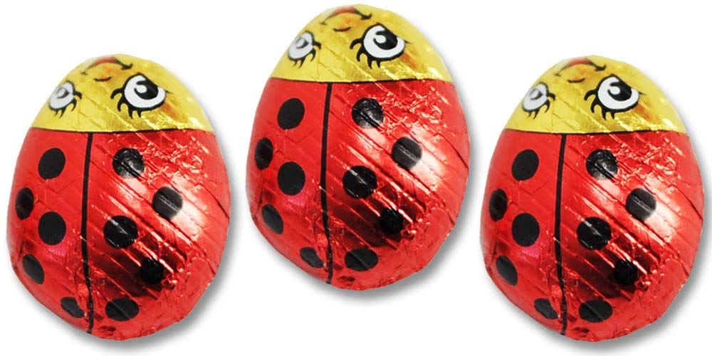 Madelaine Solid Premium Milk Chocolate Lady Bugs - Red Candy Party Favors (Red & Black) (1/2 LB) by THE MADELAINE CHOCOLATE COMPANY