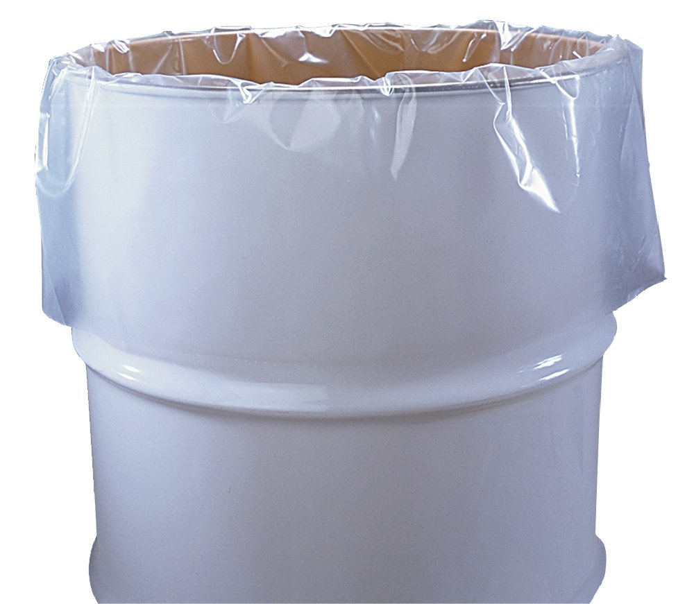 55 Gallon Clear Plastic Drum Liners, Food Grade, 38'' x 63'', 4-Mil, Roll of 50
