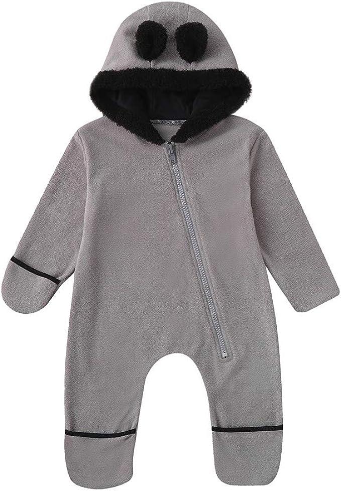 Baby Overall mit Kapuze Footies Neugeborene Strampler Jungen Schneeanz/üge Karikatur Winter Jumpsuit 0-3 Monate
