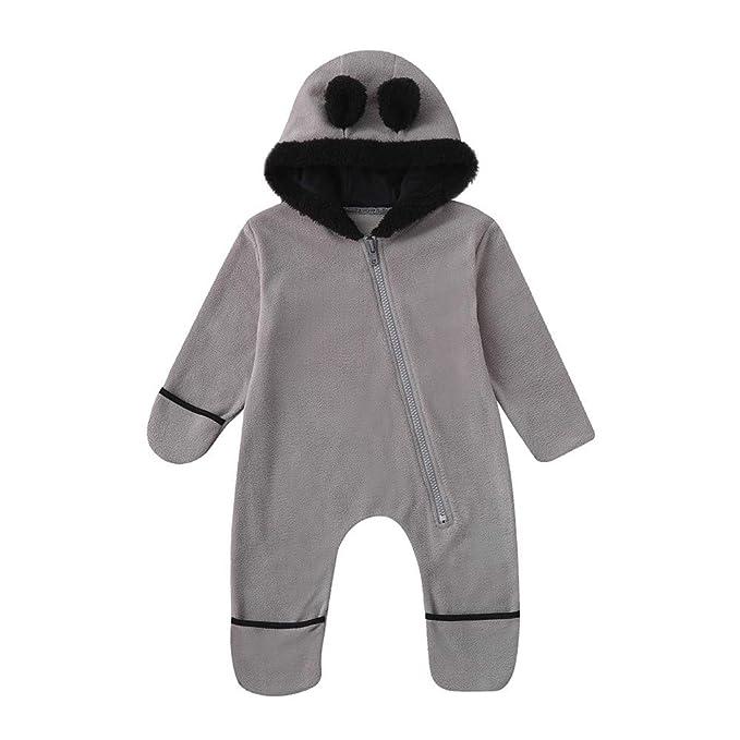 Recién Nacido Niñas bebés niños Orejas de Dibujos Animados Sudaderas con Capucha Mamelucos Monos Pijama De Invierno de Cremallera Disfraz para Bebés