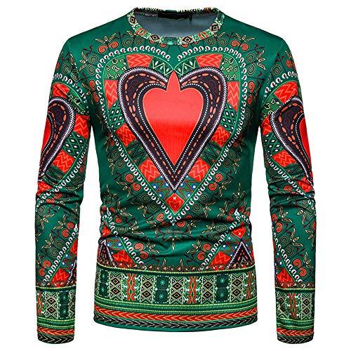 Fixture Cashmere (Toimothcn Men's Dashiki Tops African Ethnic Print Shirt Long Sleeve O-Neck Sweatshirt Pullover Top Blouse(Green,XL))
