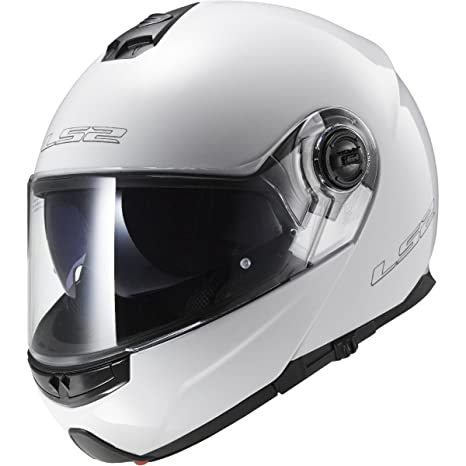 LS2 Helmets Strobe Solid Modular Motorcycle Helmet with Sunshield (White, Small)