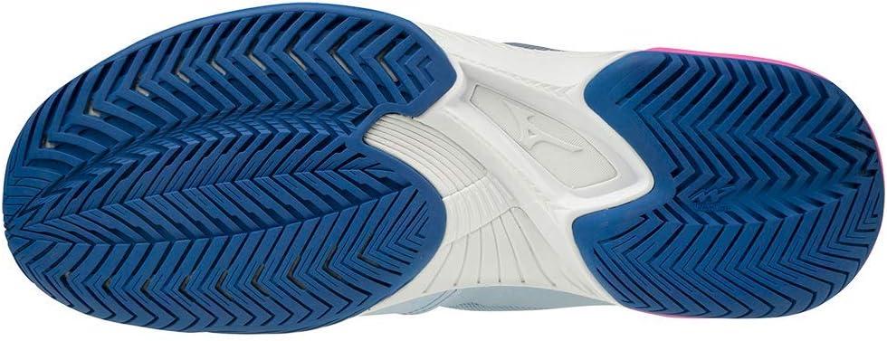 Mizuno Women's Wave Exceed Super Light All Court Tennis Shoe Light Blue/navy