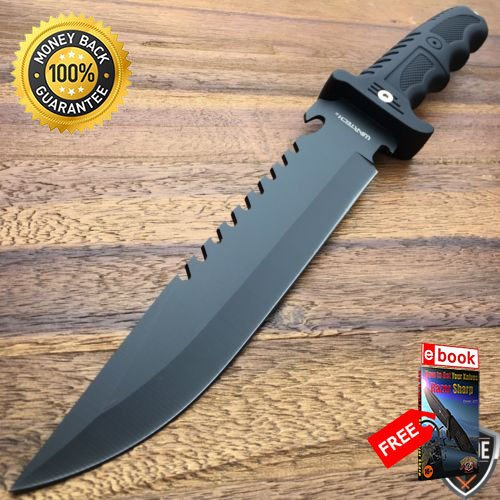 13.5'' Hunting Fixed Blade Tactical Fishing Survival Knife Sheath Bowie Rambo For Hunting Tactical Camping Cosplay + eBOOK by MOON KNIVES