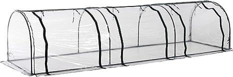 Outsunny Invernadero Caseta de Jard/ín 295x200x190cm Tipo T/únel Invernadero con Ventanas y Puertas para Cultivo Plantas Cubierta PE Marco Acero Blanco