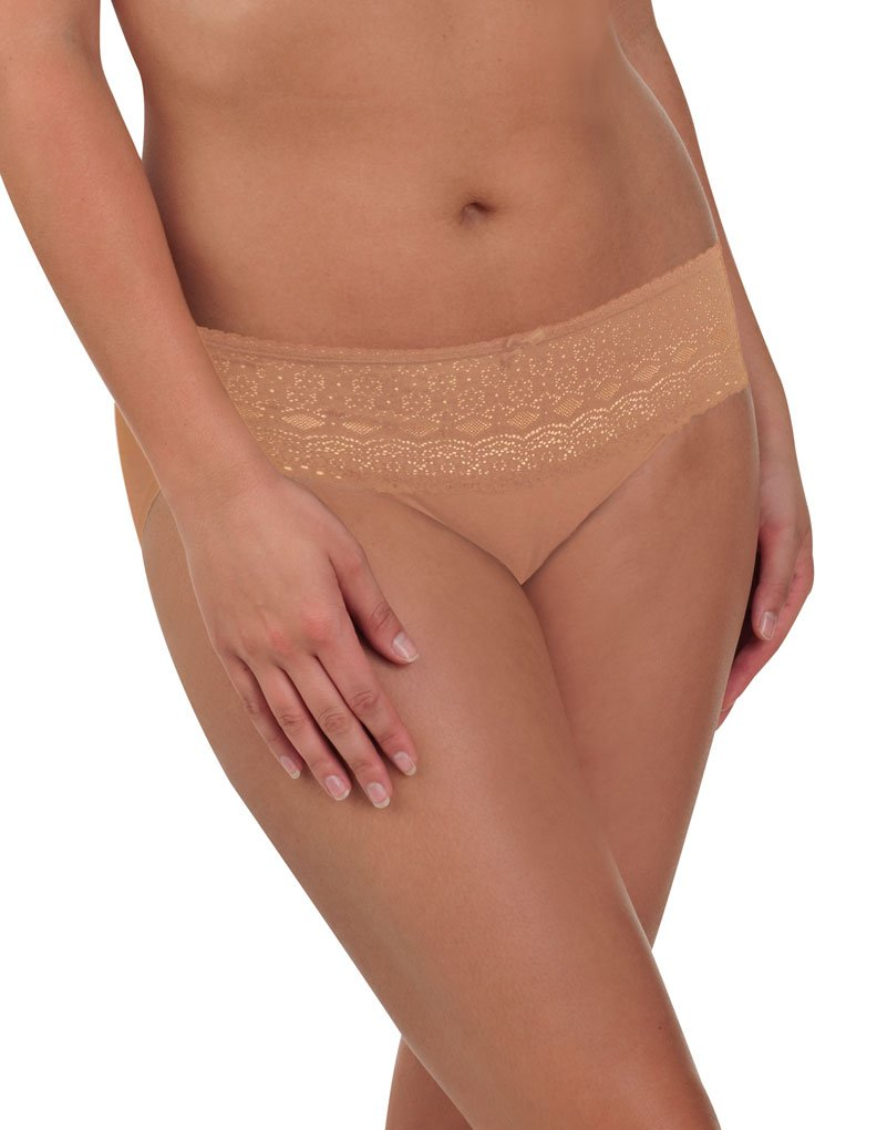 Naomi and Nicole Edgies Nude Lace Hipster A163 Small (Brand Size 5)