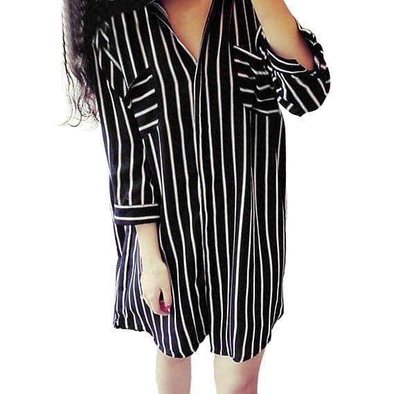Morwind Camisa Amplia a Rayas, Camisetas Mujer Blusas de Mujer de Moda Sudaderas Deportivas Sueter