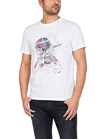 Replay Rundhals T-Shirt Halbarm Statement-Print weiß  Amazon.de ... c512b5985e