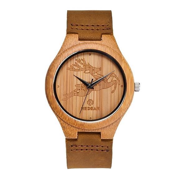 Madera Reloj hombre de acmede, madera Reloj de pulsera madera natural bambú Reloj Lederarmband marrón