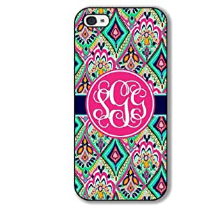 Lilly Pulitzer Inspired iPhone Case Pretty Floral Jewels Monogrammed iPhone Case 4 4s Hard Rubber Case - Black or White