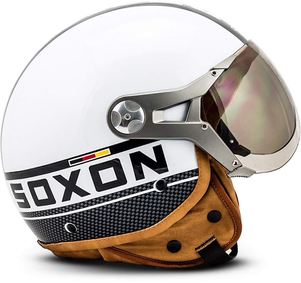 SOXON SP-325-PLUS Black /· Scooter Biker Urbano Bobber Urban Mofa Vintage Piloto Retro Cruiser Helmet Moto motocicleta Chopper Vespa Casco Demi-Jet /· ECE certificado /· incluyendo parasol /· incluyendo bolsa de casco /· Negro