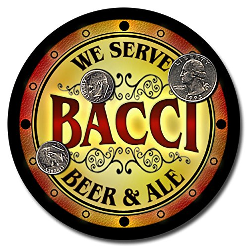 Bacci Family Name Beer and Ale Rubber Drink Coasters - Set