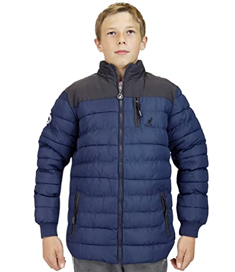 a98c90a2d Kangol Kids Padded Jacket Funnel Neck Patches Puffer Coat: Amazon.co ...