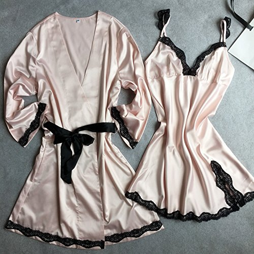 Amazon.com: MH-RITA Silk Pajamas Silk Silk Lace Summer Female Korean Lady Nightdress Two Piece Skirt Temperament Spring: Clothing