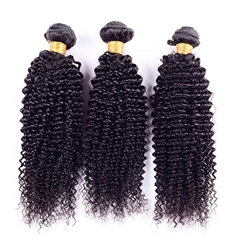 Ruiyu 8A Grade Brazilian Virgin Hair Human Hair Weave 3 Bundles Kinky Curly Human Hair Extensions Hair Weft Natural Color 12 14 16 Inches Pack of 3