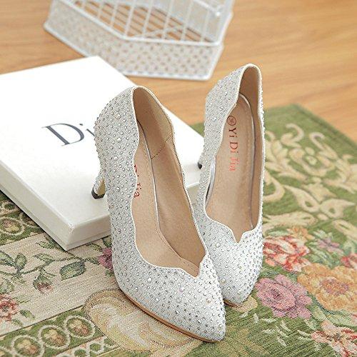 fino Zapatos Elegantes Mujer Punta con Zapatos tacón plata de Zapatos alto Xue con Mujer Qiqi Ligero 70wI8