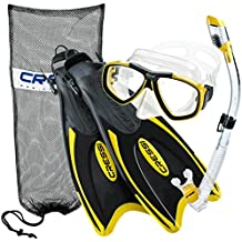 Cressi Palau Long Fins, Focus Mask, Dry Snorkel, Snorkeling Gear Package