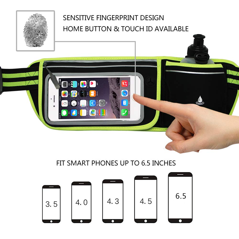 Samsung Galaxy S9 8 Walking S6 for Running Hiking Touchscreen Zipper Pockets Water Resistant Bag Fit iPhone Xs Max 6S NORYER Hydration Running Belt with 10 oz Bottle S7 XR S8 6 7