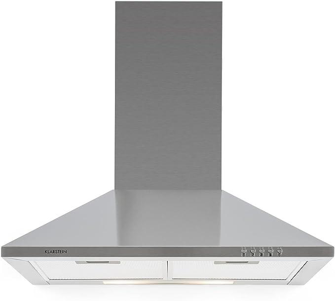 Klarstein TR60WS Campana extractora - Campana de pared, Aire de escape circulante, Iluminación, Ancho: 60 cm, 3 escalas, Capacidad: 310 m³/h, 2 filtros de grasa, Acero inoxidable, Plateado: Amazon.es: Grandes electrodomésticos